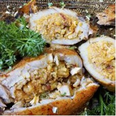 Comeaux's Stuffed Pork Chops w/ Crawfish Boudin